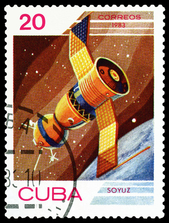 manned: CUBA - CIRCA 1983: A stamp printed in Cuba shows flight of orbital manned space station Union , the study of near-Earth space , circa 1983