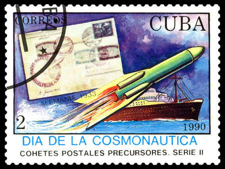 cosmonautics day: STAVROPOL, RUSSIA - MARCH 25, 2016: A stamp printed in Cuba shows  rocket, Germany 1933, cosmonautics Day, circa 1990 Stock Photo