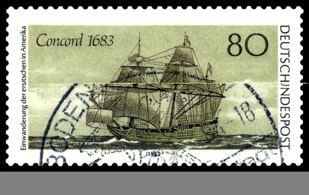 united states postal service: STAVROPOL, RUSSIA - APRIL 05, 2016: a stamp printed by Germany, shows the famous tall ship Concord in 1683 , 300 years of emigration of Germans in the United States , circa 1983 .