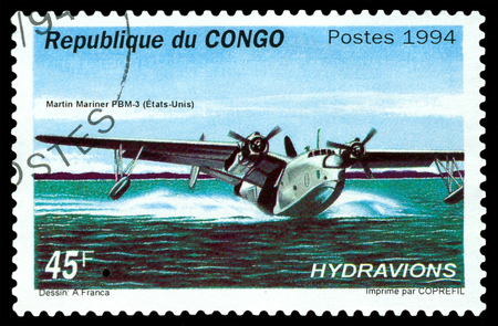mariner: STAVROPOL, RUSSIA - MARCH 30, 2016: A stamp printed in Republic of the Congo shows  Martin Mariner PBM-3, bomber, seaplane, USA 1940, cirka 1994