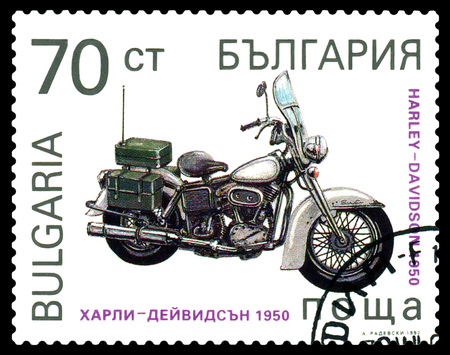 old envelope: STAVROPOL, RUSSIA - MARCH 30, 2016: a stamp printed in Bulgaria, shows an old motorcycle  Harley - Davidson 1950, USA  , cirka 1992