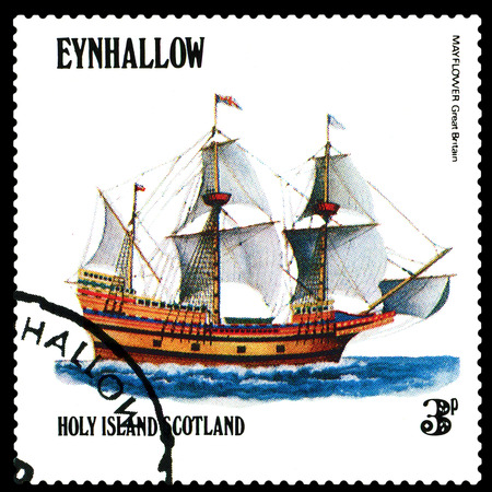 mayflower: STAVROPOL, RUSSIA - APRIL 09, 2016: a stamp printed by Scotland, shows  old Sailing ship Mayflower Great Bitain,  circa 1984 .