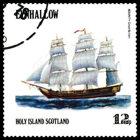STAVROPOL, RUSSIA - APRIL 09, 2016: a stamp printed by Scotland, shows  old Sailing ship  Bounty  Great Britain,  circa 1984 .