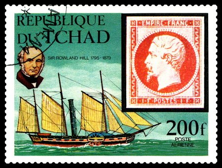 reformer: STAVROPOL, RUSSIA - APRIL 05, 2016: A Stamp printed in the Chad  shows  portrait  Sir Rowland Hill (1795 - 1879) was an English teacher, inventor and social reformer, circa 1979 Editorial