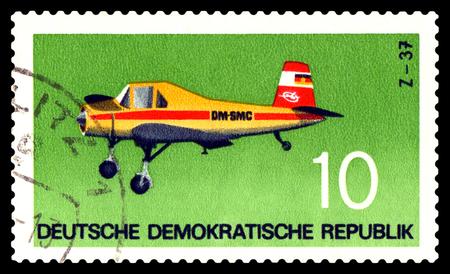 gdr: STAVROPOL, RUSSIA - APRIL 05, 2016: a stamp printed by GDR  shows  Plane  Plane Z - 37. 1963, Czechoslovakia, circa 1957
