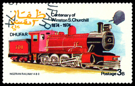 30 s: STAVROPOL, RUSSIA - MARCH 30, 2016: A Stamp printed in the  Dhufar  shows  Old steam locomotive, Nigerian Railway 4-8-0, stamp devoted to the   Centenary of Winston S. Churchill, circa 1974 Editorial
