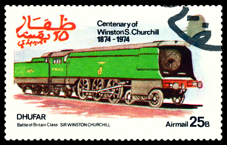30 s: STAVROPOL, RUSSIA - MARCH 30, 2016: A Stamp printed in the  Dhufar  shows  Old steam locomotive, Battle of Britain Class Sir Winston Churchill, stamp devoted to the   Centenary of Winston S. Churchill, circa 1974 Editorial