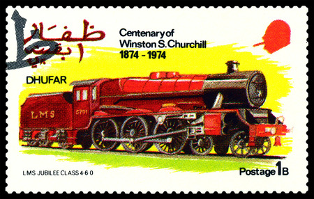winston: STAVROPOL, RUSSIA - MARCH 30, 2016: A Stamp printed in the  Dhufar  shows  Old steam locomotive, LMS Jubilee Clfss 4-6-0, stamp devoted to the   Centenary of Winston S. Churchill, circa 1974