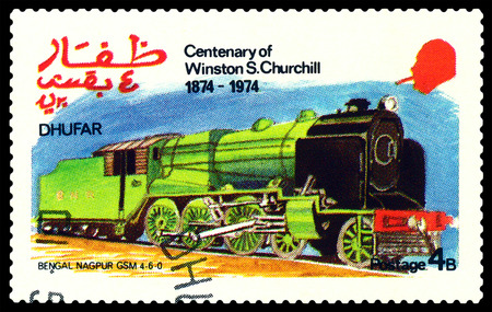 nagpur: STAVROPOL, RUSSIA - MARCH 30, 2016: A Stamp printed in the  Dhufar  shows  Old steam locomotive, Bengal Nagpur GSM 4-6-0, stamp devoted to the   Centenary of Winston S. Churchill, circa 1974
