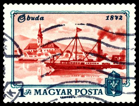 obuda: STAVROPOL, RUSSIA - APRIL 28, 2016: a stamp printed by Hungary, shows  Buda, river Danube, Centenary of inification of Obuda, Buda and Pest into Budapest, circa 1972
