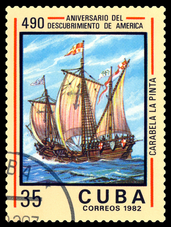 pinta: STAVROPOL, RUSSIA - a stamp printed in Cuba, shows  caravelle  Pinta. Discovery of America, 500th anniversary,  circa 1982.