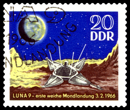 gdr: STAVROPOL, RUSSIA - APRIL 30, 2016: a stamp printed  in  GDR  shows Luna 9 on Moon, circa 1984