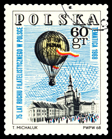 philatelic: STAVROPOL, RUSSIA - MAY 25, 2016: a stamp printed in Poland  shows  Emblem, Philatelic Exhibition, Poznan 1968, circa 1968