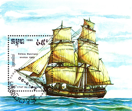 merchant: STAVROPOL, RUSSIA - a stamp printed by Cambodia, shows  old Merchant   ship  ,  circa 1990 .