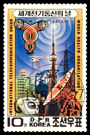 STAVROPOL, RUSSIA - A Stamp printed in the DPR Korea, shows  telecommunications technology , circa 1981