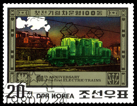 centenary: STAVROPOL, RUSSIA - APRIL 29: A Stamp printed in the DPR Korea shows Electric Train Centenary, circa 1980