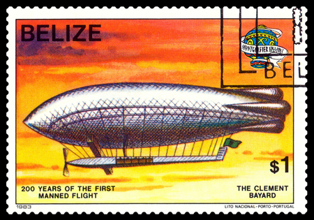 manned: STAVROPOL, RUSSIA - a stamp printed in Belize, shows an  Dirigible Clement Bayard, 200 years of manned flight, cirka 1983 Stock Photo