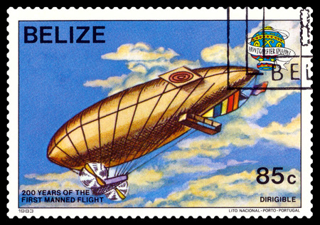 manned: STAVROPOL, RUSSIA - a stamp printed in Belize, shows an Dirigible, 200 years of manned flight, cirka 1983