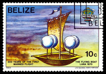 manned: STAVROPOL, RUSSIA - a stamp printed in Belize, shows an   Flying Boat Lana 1670, 200 years of manned flight, cirka 1983 Stock Photo