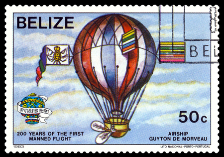 manned: STAVROPOL, RUSSIA - a stamp printed in Belize, shows an  Airship Guiton De Morveau, 200 years of manned flight, cirka 1983