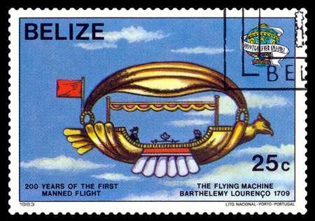 manned: STAVROPOL, RUSSIA - a stamp printed in Belize, shows an  Flying machine 1709, 200 years of manned flight, cirka 1983