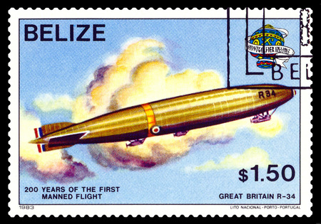 manned: STAVROPOL, RUSSIA - a stamp printed in Belize, shows an  Dirigible Great Britain R-34, 200 years of manned flight, cirka 1983