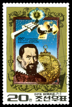 mathematician: STAVROPOL, RUSSIA - May 31, 2016: a stamp printed in DPR Korea, shows  Johann Kepler - the great German mathematician, astronomer, mechanic, optician. 350th anniversary Death , circa 1980
