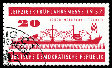 freighter: STAVROPOL, RUSSIA - JUNE 24, 2016: a stamp printed by  Germany ,  shows  Freighter A 100,  circa 1957