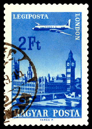 philatelic: STAVROPOL, RUSSIA - June 28, 2016:  A stamp printed in  Hungary shows  plane flying over London, circa 1966 Editorial