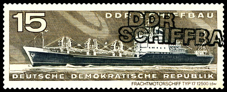 freighter: STAVROPOL, RUSSIA - JULY 06, 2016: a stamp printed by  Germany, shows  Freighter, type 17,  circa 1971