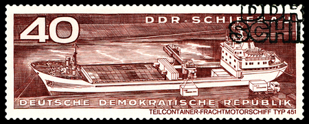 typ: STAVROPOL, RUSSIA - JULY 04, 2016: a stamp printed by  Germany,  Container cargo ship  typ 451,  circa 1971 Editorial