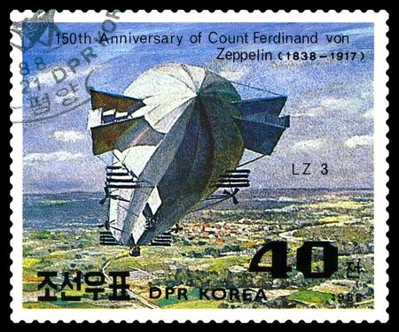 ferdinand: STAVROPOL, RUSSIA - JULY 19, 2016: a stamp printed in DPR Korea shows Airship LZ-3, Ferdinand Von Zeppelin, series, cirka 1988