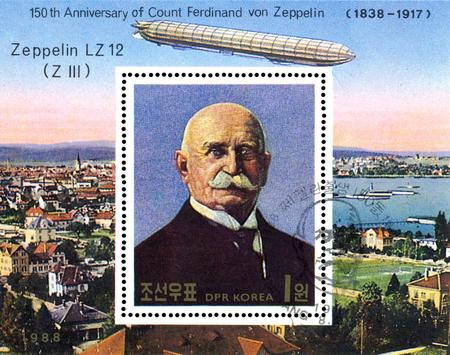 STAVROPOL, RUSSIA - JULY 19, 2016: a stamp printed in DPR Korea shows Airship LZ-12 (Z III), portrait Ferdinand Von Zeppelin, series, cirka 1988 Editorial