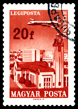 STAVROPOL, RUSSIA - June 28, 2016:  A stamp printed in  Hungary shows  plane flying over  Helsinki, circa 1966