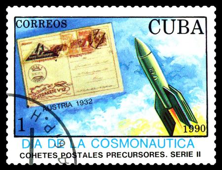 cosmonautics day: STAVROPOL, RUSSIA - MARCH 25, 2016: A stamp printed in Cuba shows  rocket, Austria 1932, cosmonautics Day, circa 1990