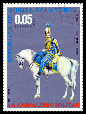 STAVROPOL, RUSSIA - August  07, 2016: A postage stamp printed in the Equatorial Guinea shows  Spain hussar in 1833 year, circa 1976