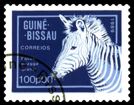 STAVROPOL, RUSSIA - A stamp printed by Guinea - Bissau,  shows African  Zebra,  circa 1989.
