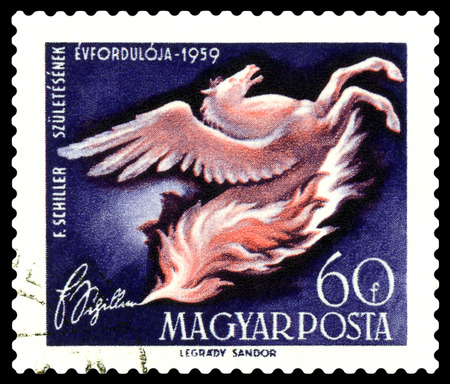 STAVROPOL, RUSSIA - August  17, 2016:  a stamp printed in  Hungary shows a picture of artist Legdary Sandor,   Pegasus rearing from flames, dedicated to F. Schiller, circa 1959