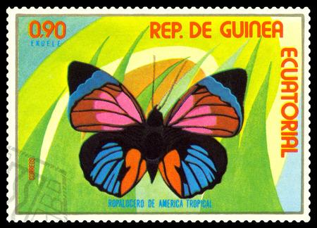STAVROPOL, RUSSIA - A stamp printed in  Equatorial Guinea shows butterfly Ropalogero de America Tropical, circa 1976. Stock Photo