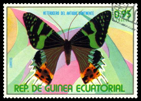 STAVROPOL, RUSSIA - A stamp printed in  Equatorial Guinea shows butterfly Heterogero del antiguo continente, circa 1976.