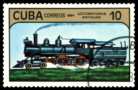 conveyance: STAVROPOL, RUSSIA - A Stamp printed in the  Cuba  shows  antique  locomotive, series, circa 1984