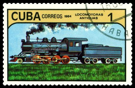 STAVROPOL, RUSSIA - A Stamp printed in the  Cuba  shows  antique  locomotive, series, circa 1984