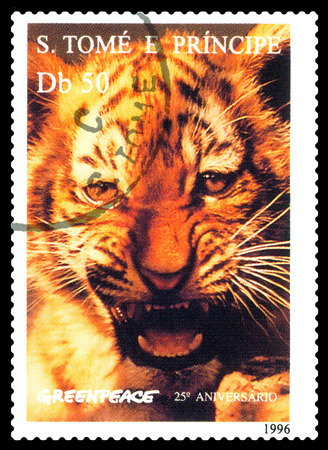 STAVROPOL, RUSSIA - A stamp printed in Sao Tome and Principe shows Tiger, series Greenpeace,  circa 1996 Stock Photo