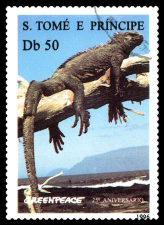 STAVROPOL, RUSSIA - A stamp printed in Sao Tome and Principe shows Iguana (Cyclura nubila), series Greenpeace,  circa 1992 Stock Photo