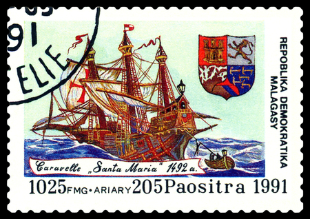 philately: STAVROPOL, RUSSIA - September 01, 2016: a stamp printed in Malagasy, shows  caravelle  Santa Maria,  circa 1991.