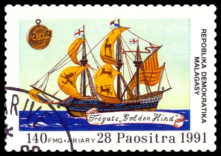 philately: STAVROPOL, RUSSIA - September 01, 2016: a stamp printed in Malagasy Republic, shows  Frigate Golden Hind,  circa 1991.