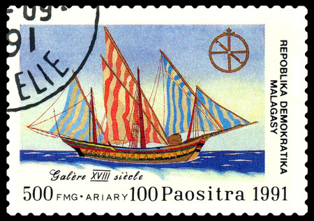 philately: STAVROPOL, RUSSIA - September 01, 2016: a stamp printed in Malagasy Republic, shows  galley 18 century,  circa 1991.