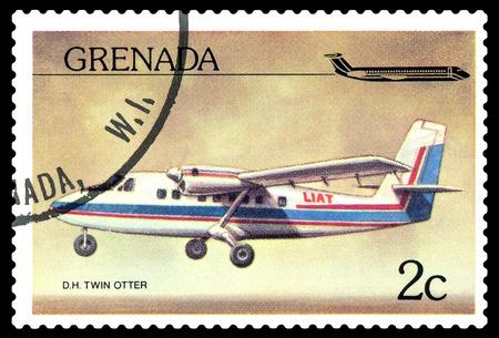 philately: STAVROPOL, RUSSIA - October 10, 2016: a stamp printed in Grenada, shows  plane De Havilland Canada DHC-6 Twin Otter1970,  circa 1976.