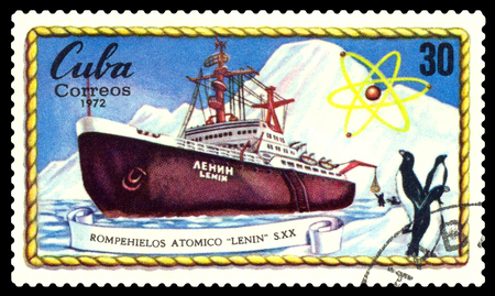 STAVROPOL, RUSSIA - November 25, 2016: A Stamp printed in the Cuba  shows  known  russian  Atomic  Icebreakers  Lenin, circa 1972