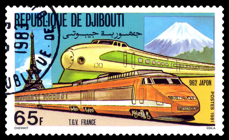 philately: STAVROPOL, RUSSIA - November 28, 2016: A Stamp printed in the Djibouti shows locomotive, TGV France and 962 Japon, circa 1981